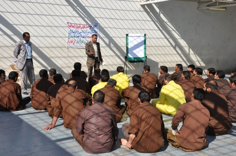 Prisoners Being Given A Lesson In Human Rights And The Rule Of Law In A Jail Near Baghdad